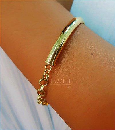 Bracelete Liso com Elo Português Banhado em Ouro18k