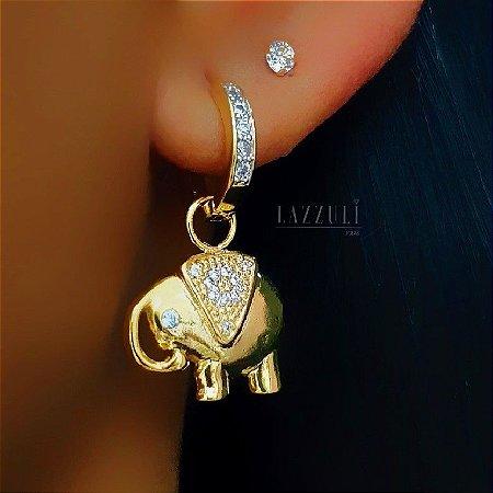 Brinco Argola Zircônia Cristal com Elefante Banhado em Ouro18k