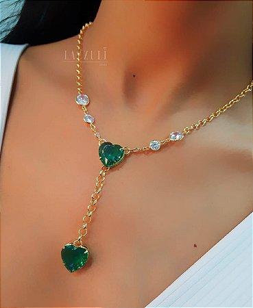Colar Elo Português com Gravatinha Coração Turmalina e Tiffany Banhado em Ouro18k