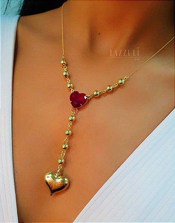 Colar Gravatinha com Bolinha e Coração Zircônia Rubi Banhado em Ouro18k