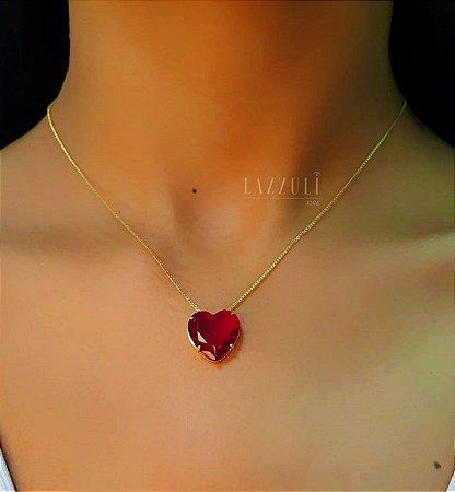 Colar Coração M Zircônia Rubi Banhado em Ouro18k