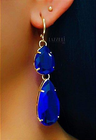 Brinco Argola com 2 Gotas Cristal Azul Banhado em Ouro18k