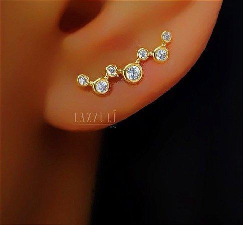 Brinco Ear Cuff Bolinhas Zircônias Cristais Banhado em Ouro18k