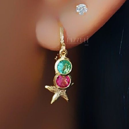 Brinco Mini Argola Tiffany Colorida e Estrela do Mar Banhado em Ouro18k