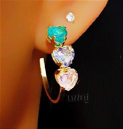 Brinco Argola Cristal Colorido Turmalina, Ametista e Rosa Banhado em Ouro18k