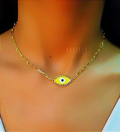 Colar 40cm Olho Grego com Resina Amarela Banhado em Ouro18k
