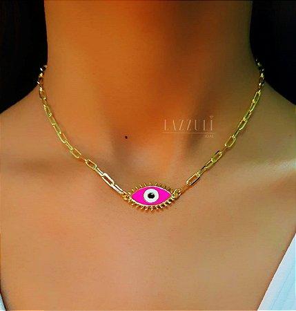 Colar 40cm Olho Grego com Resina Rosa Neon Banhado em Ouro18k