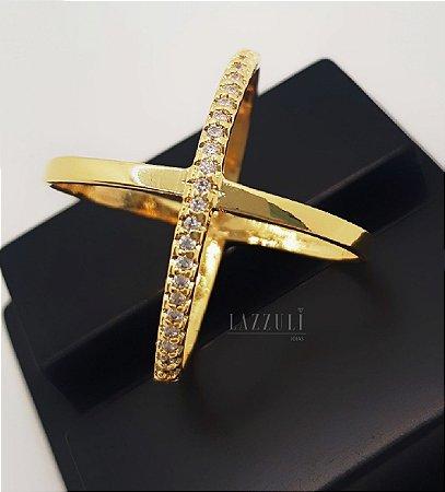Anel X com 1 Fileira Micro Zircônia Cristal Banhado em Ouro18k (SKU: 00010703)