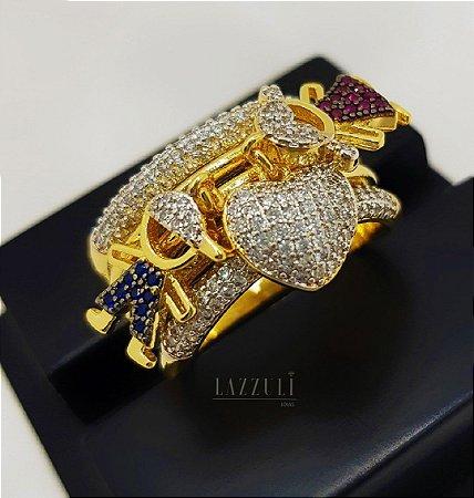 Anel Filhos Luxury com Casal Banhado em Ouro18k