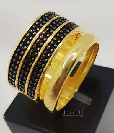 Anel Robusto com 4 Fileiras Micro Zircônia Negra Banhado em Ouro18k