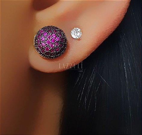 Brinco Meia Bola com Micro Zircônia Rosa Banhado em Ouro 18k