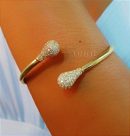 Bracelete Gotinhas Cravejadas Banhado em Ouro18k