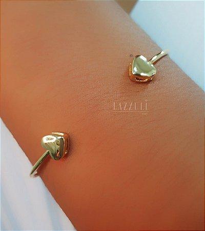 Bracelete 2 Mini Corações Lisos Banhado em Ouro18k