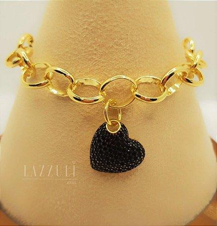 Pulseira Elos com Pingente Coração com Micro Zircônia Negra Banhado em Ouro18k
