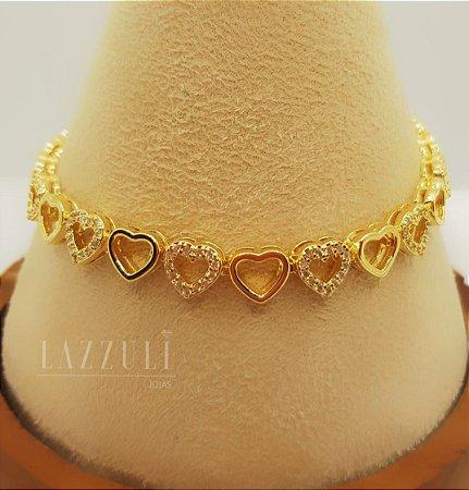 Pulseira Mini Corações Intercalados Banhado em Ouro18k