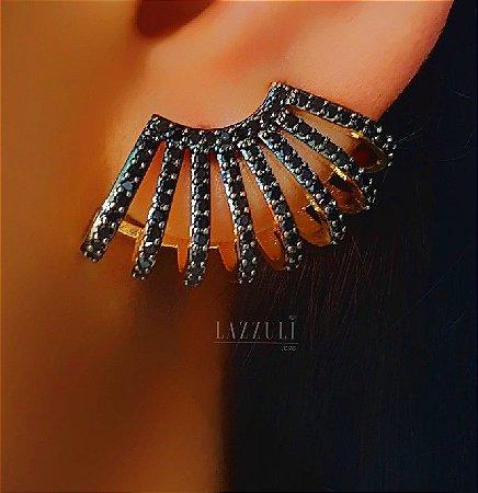 Brinco Ear Cuff 8 Fileiras Micro Zircônias Negras Banhado em Ouro18k