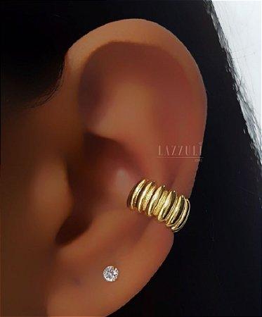 Piercing Fake Ondulado Banhado em Ouro18k