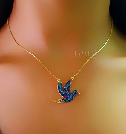 Colar Pássaro com Micro Zircônia Colorida Banhado em Ouro18k (SKU: 00051999)