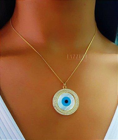 Colar Olho Grego Mandala 2 Fileiras de Micro Zircônias e Madrepérola Banhado em Ouro18k (SKU: 00052021)