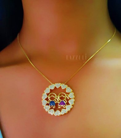 Colar Mandala Filhos com 2 Filhos Casal Zircônia Rosa, Azul e Cristal Banhado em Ouro18k