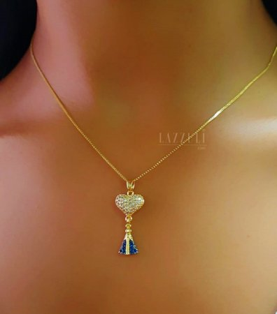 Colar Nossa Senhora com Coração Banhado em Ouro18k (SKU: 00052002)