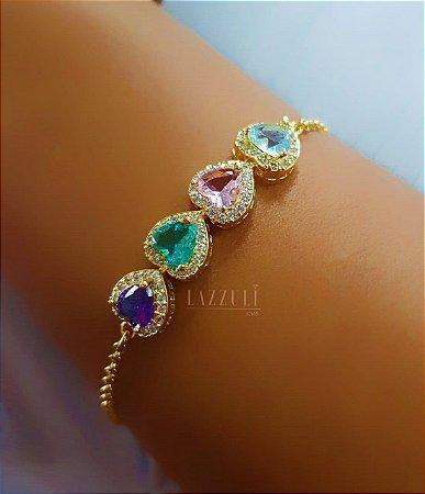 Pulseira Elo Português com 4 Corações Coloridos e Micro Zircônia Cristal Banhado em Ouro18k