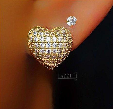 Brinco Coração 1.0 cm com Micro Zircônias Banhado em Ouro18k