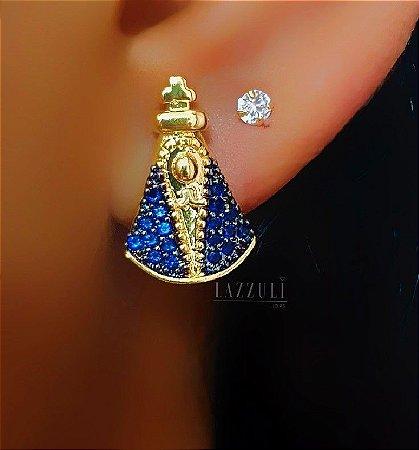 Brinco Nossa Senhora 1.5cm / 1.0cm com Micro Zircônia Azul Banhado em Ouro18k