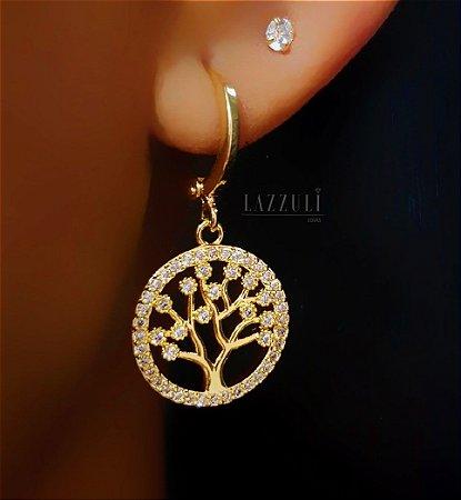 Brinco Argola Árvore da Vida Micro Zircônia Cristal Banhado em Ouro18k (SKU: 00031831)