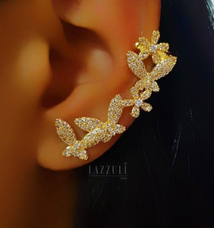 Brinco Ear Cuff Borboleta com Flor Micro Zircônia Banhado em Ouro18k (SKU: 00031826)