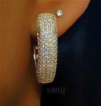 """Brinco Argola em """"V"""" Robusto Luxury com Micro Zircônias Banhado em Ouro18k (SKU: 00031804)"""