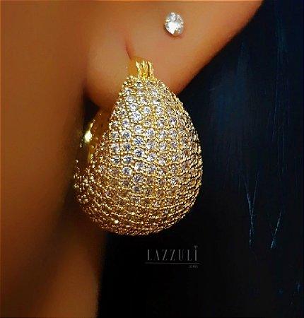 Brinco Argola Abaulada Luxury Toda em Micro Zircônia Banhado em Ouro18k (SKU: 00031816)