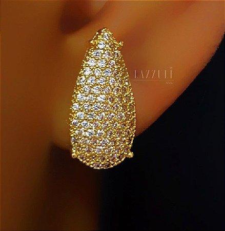 Brinco Gota Luxury 4 Garras Micro Zircônias Cravejadas Banhado em Ouro18k (SKU: 00031823)