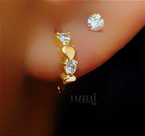 Brinco Mini Argola com Zircônia Cristal Banhado em Ouro18k (SKU: 00031807)