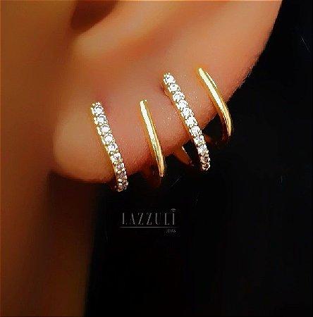 Brinco Ear Cuff 2 Fileiras Micro Zircônia Cristal Banhado em Ouro18k