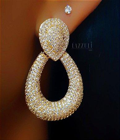 Brinco Luxury Gota com Micro Zircônias Banhado em Ouro18k (SKU: 00031794)