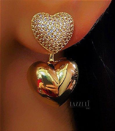 Brinco Ear Jacket de Coração Liso e Micro Zircônias Banhado em Ouro18k