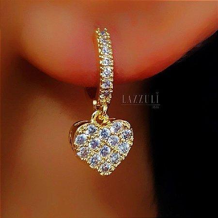 Brinco Mini Argola Coração com Micro Zircônias Cristais Banhado em Ouro18k (SKU: 00031911)