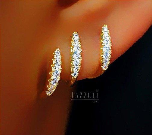 Brinco Ear Cuff 3 Fileiras Micro Zircônia Cristais Banhado em Ouro18k