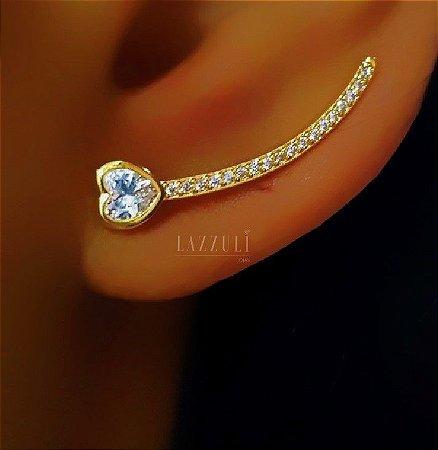 Brinco Ear Cuff com Coração e Fio de Zircônia Banhado em Ouro18k