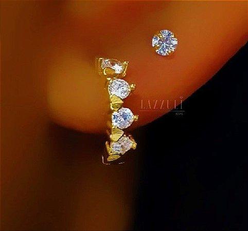 Brinco Mini Argola Athena Gold com 4 Zircônia Cristal com Detalhes Banhado em Ouro18k