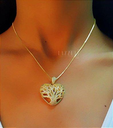 Colar Luxury Coração com Árvore da Vida Banhado em Ouro18k
