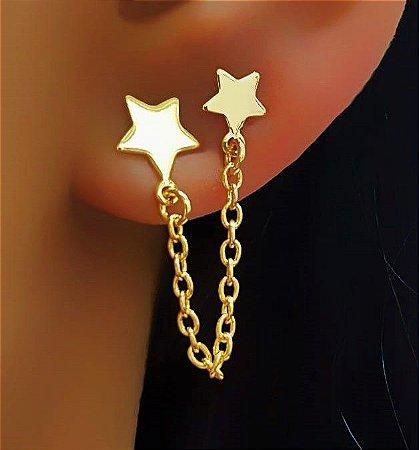Brinco Estrela Lisa com Corrente (Ideal para 2 furos) Banhado em Ouro18k