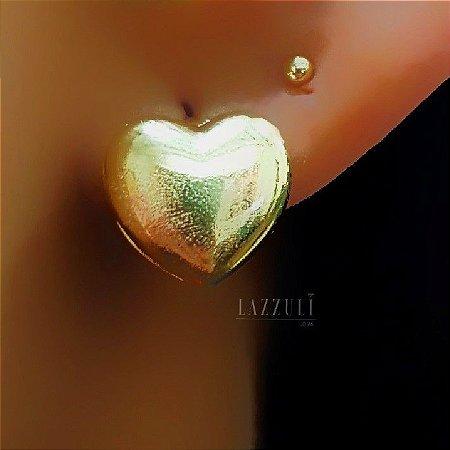 Brinco Argola Coração Lisa com detalhes banhado em Ouro18k
