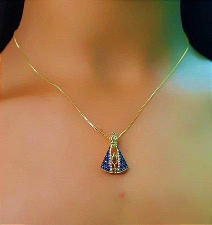Colar Nossa Senhora Micro Zircônia Azul Banhado em Ouro18k (SKU: 00052053)