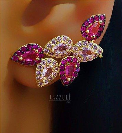 Brinco Ear Cuff 6 Gotas Luxury Micro Zircônias Rosa Banhada em Ouro18k