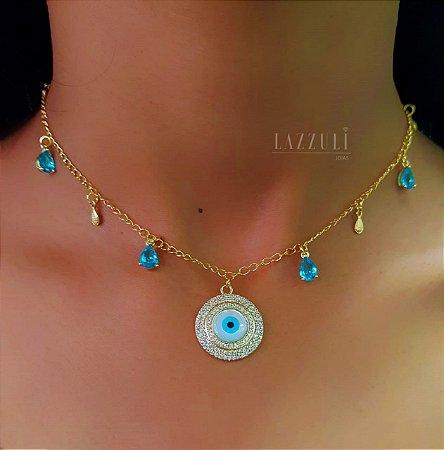 Choker Olho Grego com Micro Zircônias e Gota Zircônia Azul Claro Banhado em Ouro18k