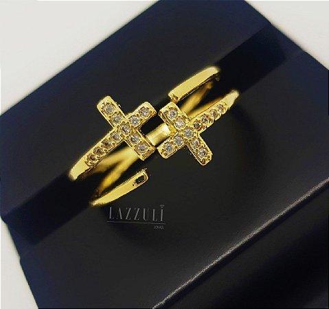 Anel Cruz Invertida com Micro Zircônias Banhado em Ouro18k