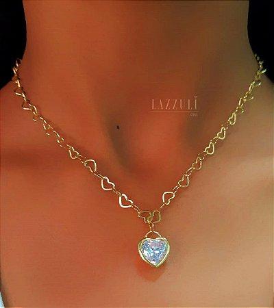 Colar Elo Corações 45cm com Pingente Coração Banhado em Ouro18k