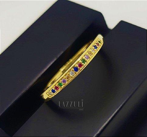 Anel Meia Aliança com 1 Fileira Micro Zircônias Coloridas Banhado em Ouro18k (SKU: 00010840)